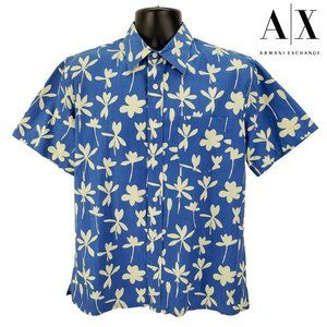 Armani Exchange Hawaiian Shirt Men's M Medium Blue